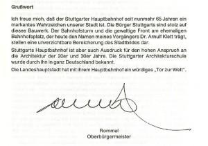 Grusswort 65Jahre StgtHBF OB Rommel