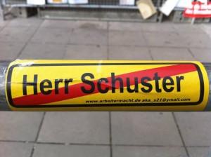 Abwandlung des bekannten Stuttgart 21 Ende Aufklebers